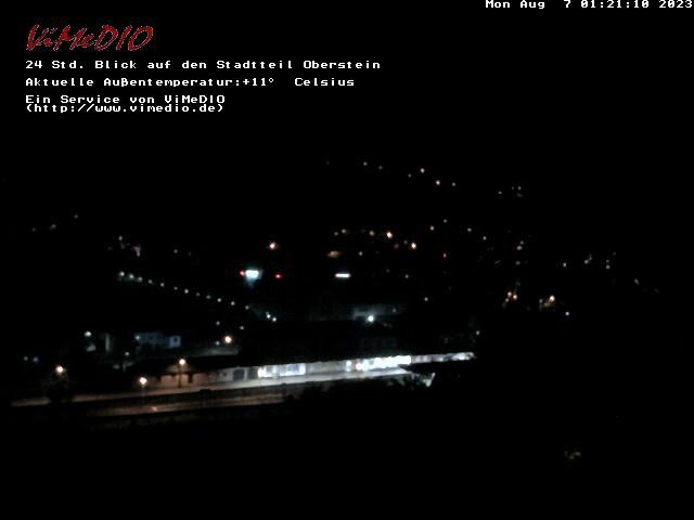 Die Idar-Obersteiner Webcam mit Panoramabild auf den Stadtteil Oberstein mit der Felsenkirche und den Schloßruinen